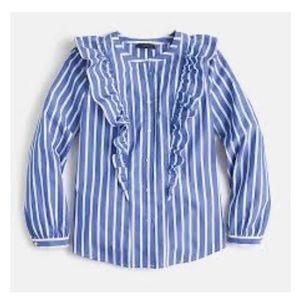 J. Crew Striped Button-Up Shirt Ruffle Yolk Blue 4
